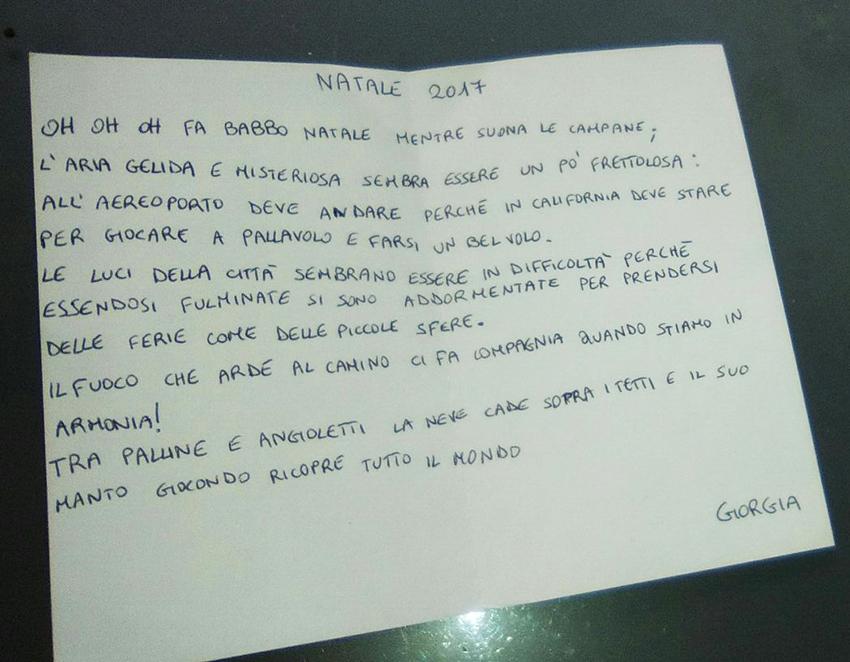 Poesie Di Natale In Rima.La Poesia Di Natale Della Piccola Giorgia Un Talento Collese Che Si Esprime In Rime News Della Valle